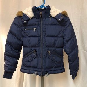 Justice Navy Blue Winter Coat, Size 12